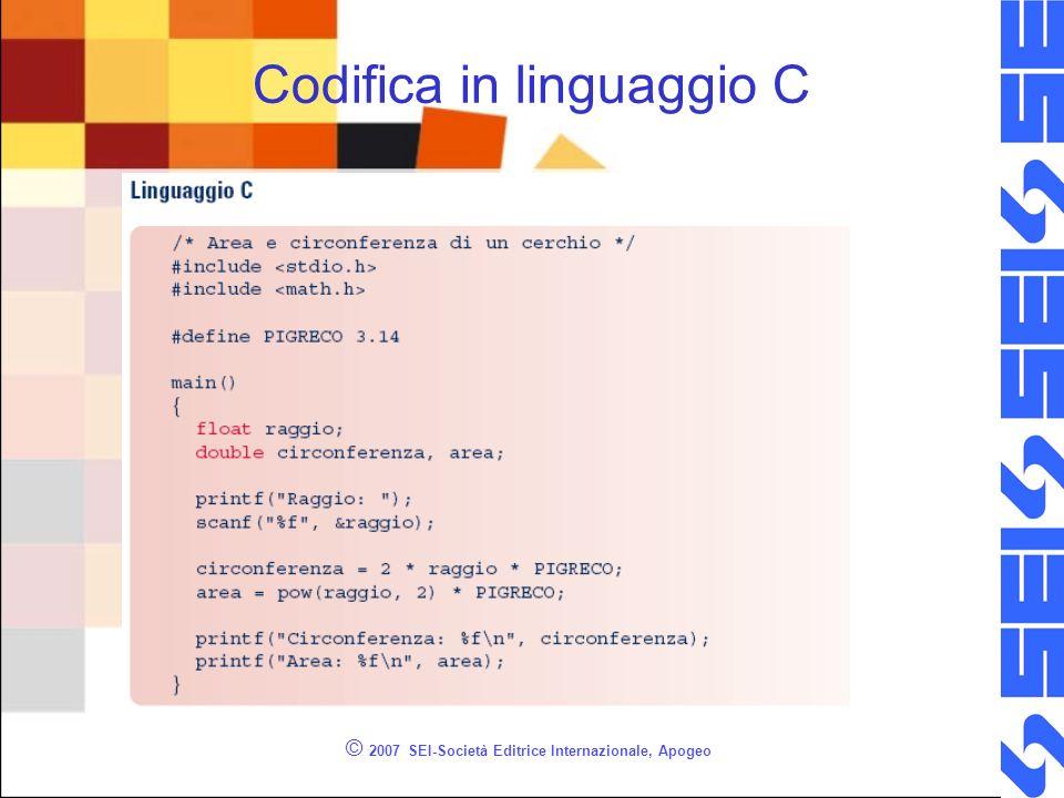© 2007 SEI-Società Editrice Internazionale, Apogeo Codifica in linguaggio C