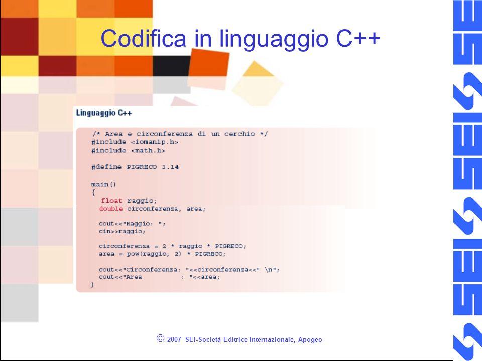 © 2007 SEI-Società Editrice Internazionale, Apogeo Codifica in linguaggio C++