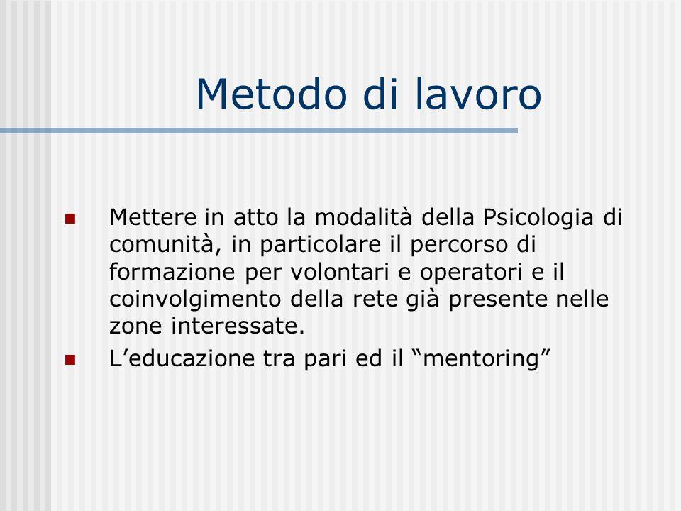Metodo di lavoro Mettere in atto la modalità della Psicologia di comunità, in particolare il percorso di formazione per volontari e operatori e il coi