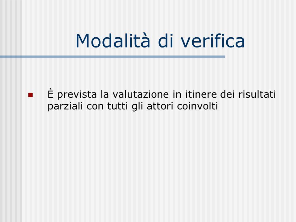Modalità di verifica È prevista la valutazione in itinere dei risultati parziali con tutti gli attori coinvolti