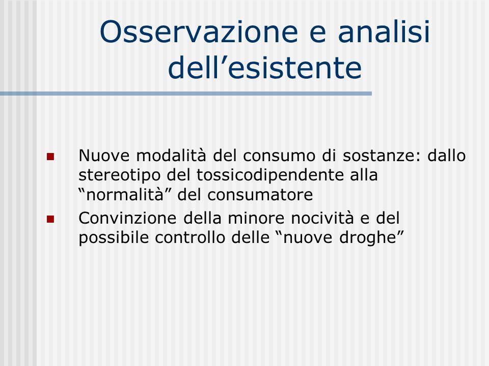 Osservazione e analisi dellesistente Nuove modalità del consumo di sostanze: dallo stereotipo del tossicodipendente alla normalità del consumatore Con