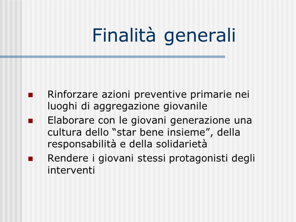 Finalità generali Rinforzare azioni preventive primarie nei luoghi di aggregazione giovanile Elaborare con le giovani generazione una cultura dello st