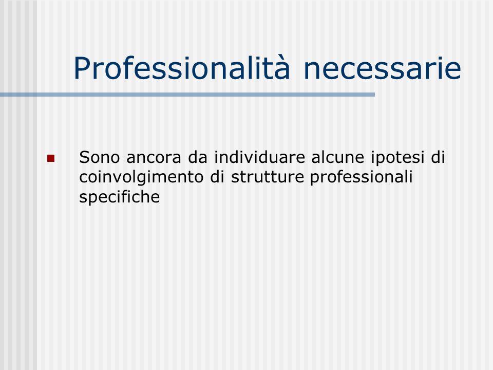 Professionalità necessarie Sono ancora da individuare alcune ipotesi di coinvolgimento di strutture professionali specifiche