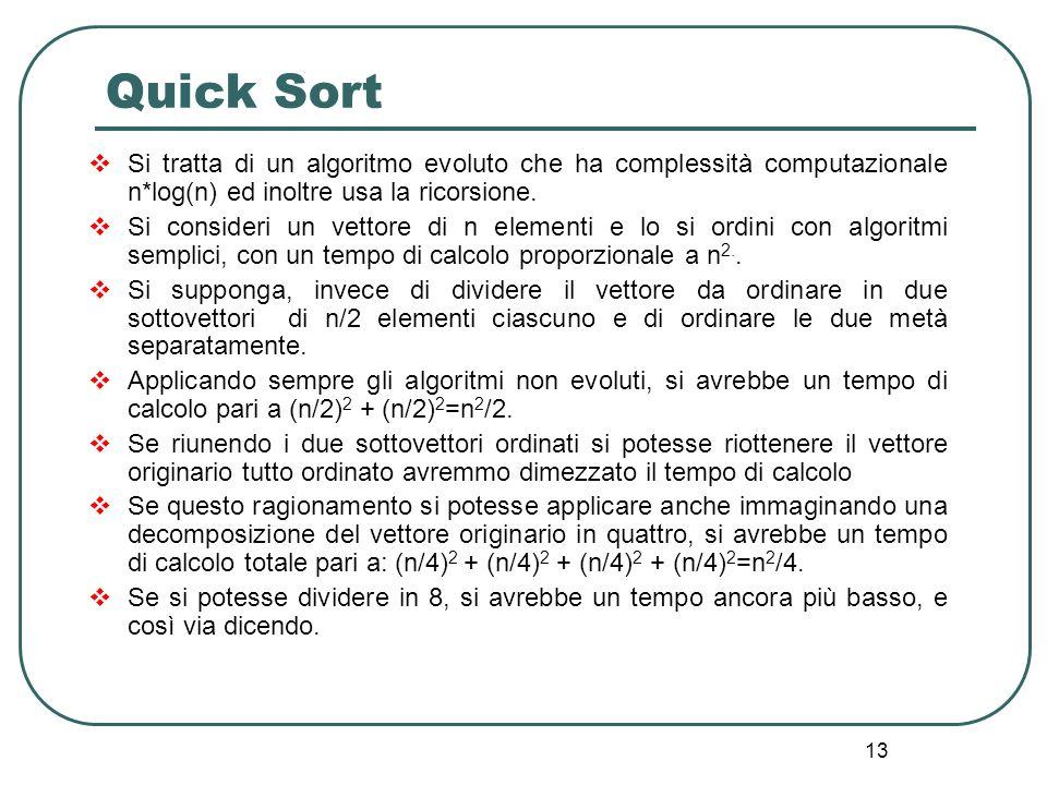 13 Quick Sort Si tratta di un algoritmo evoluto che ha complessità computazionale n*log(n) ed inoltre usa la ricorsione. Si consideri un vettore di n