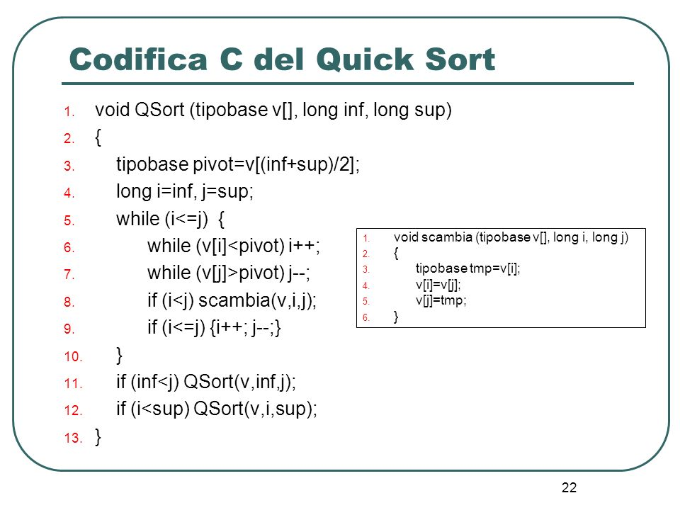 22 Codifica C del Quick Sort 1.void QSort (tipobase v[], long inf, long sup) 2.
