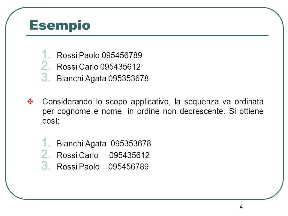 4 Esempio 1. Rossi Paolo 095456789 2. Rossi Carlo 095435612 3. Bianchi Agata 095353678 Considerando lo scopo applicativo, la sequenza va ordinata per