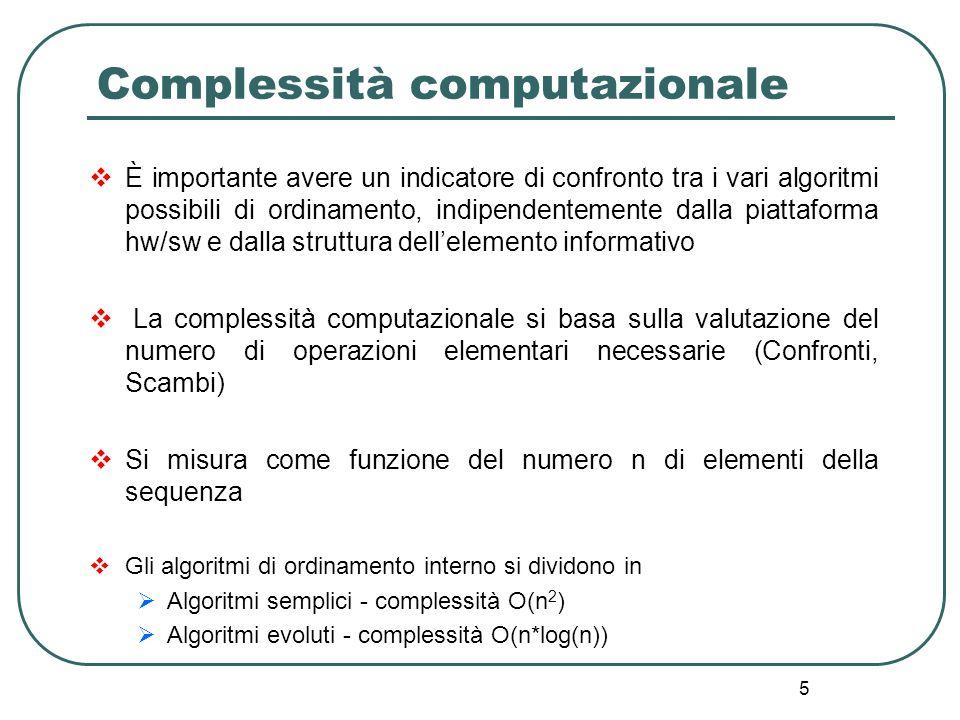 5 Complessità computazionale È importante avere un indicatore di confronto tra i vari algoritmi possibili di ordinamento, indipendentemente dalla piat