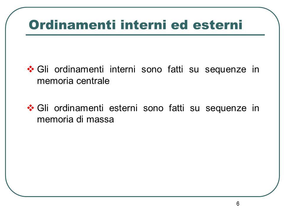6 Ordinamenti interni ed esterni Gli ordinamenti interni sono fatti su sequenze in memoria centrale Gli ordinamenti esterni sono fatti su sequenze in