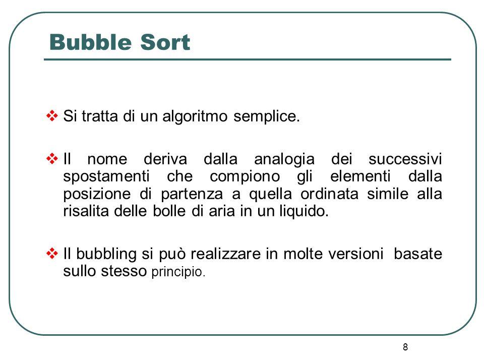 8 Bubble Sort Si tratta di un algoritmo semplice. Il nome deriva dalla analogia dei successivi spostamenti che compiono gli elementi dalla posizione d
