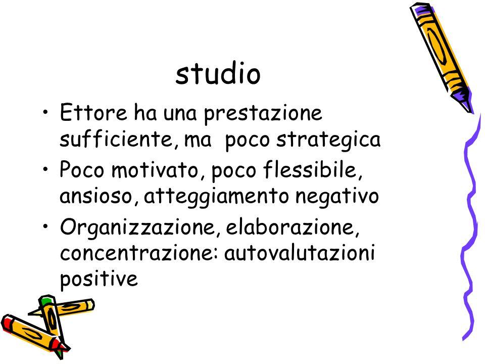 studio Ettore ha una prestazione sufficiente, ma poco strategica Poco motivato, poco flessibile, ansioso, atteggiamento negativo Organizzazione, elabo