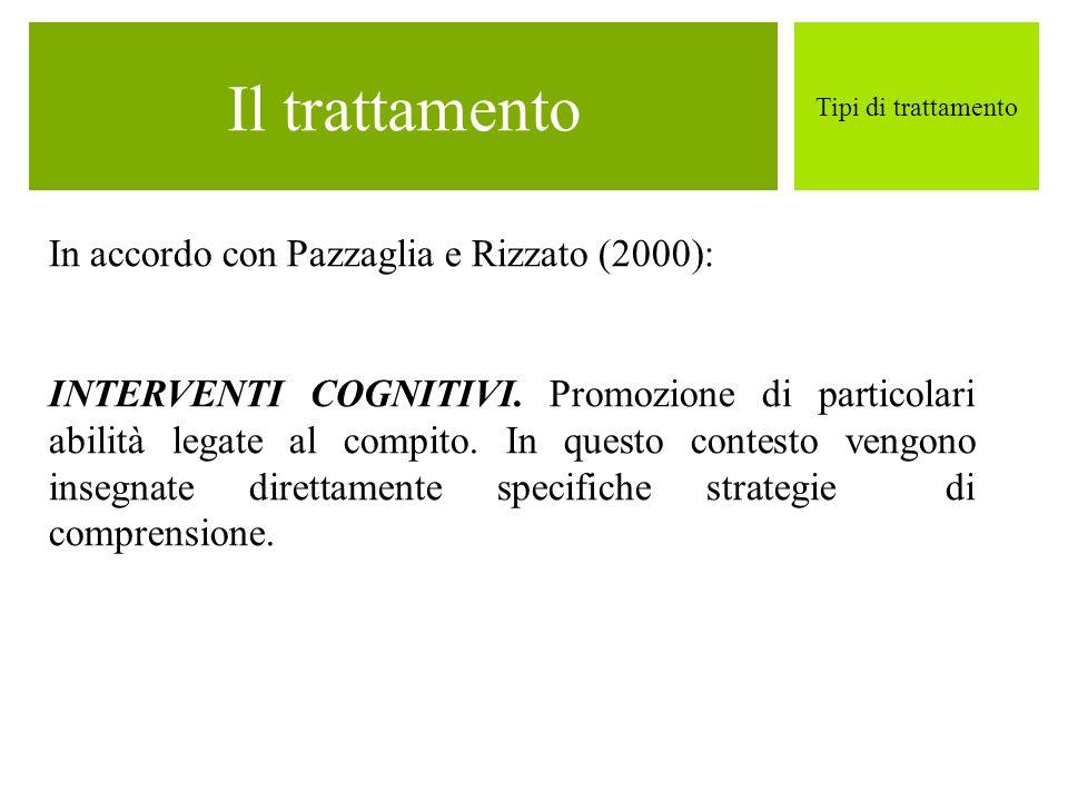 Il trattamento Tipi di trattamento In accordo con Pazzaglia e Rizzato (2000): INTERVENTI COGNITIVI. Promozione di particolari abilità legate al compit