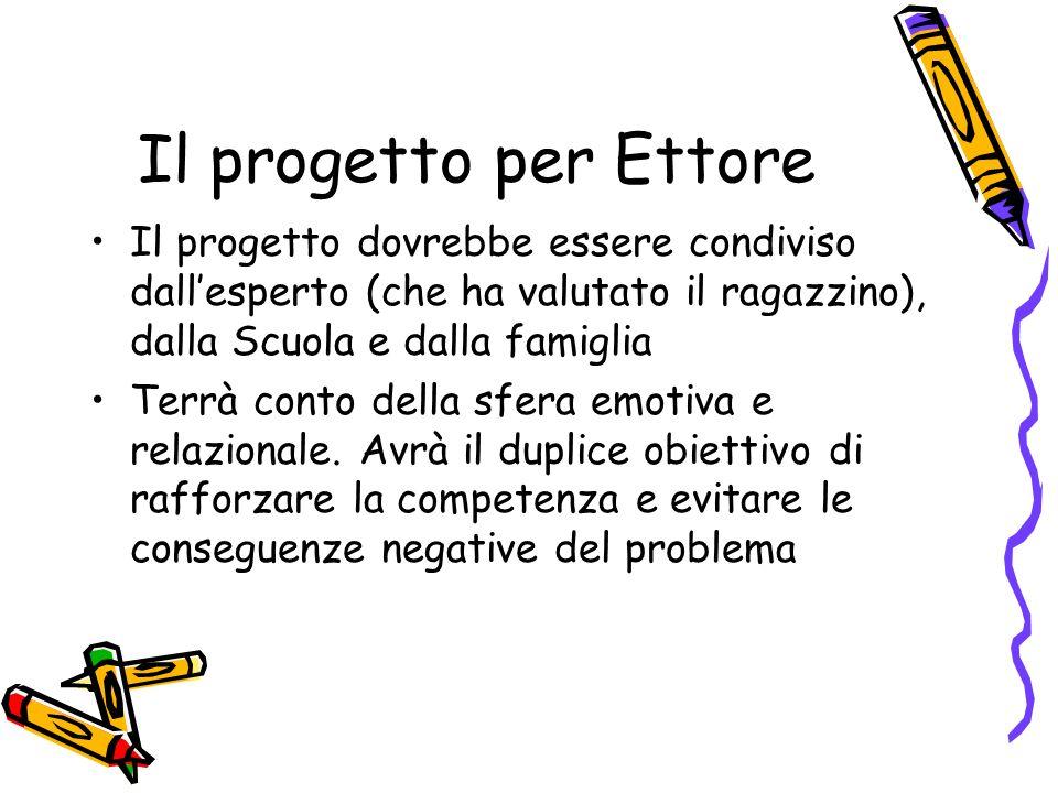 Il progetto per Ettore Il progetto dovrebbe essere condiviso dallesperto (che ha valutato il ragazzino), dalla Scuola e dalla famiglia Terrà conto del