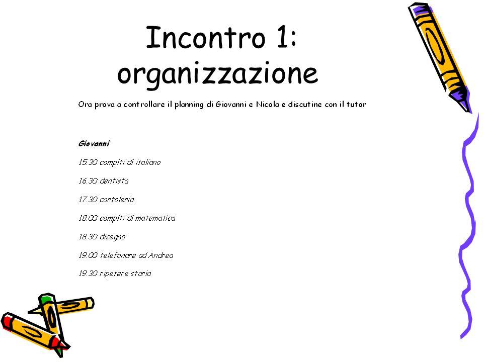 Incontro 1: organizzazione