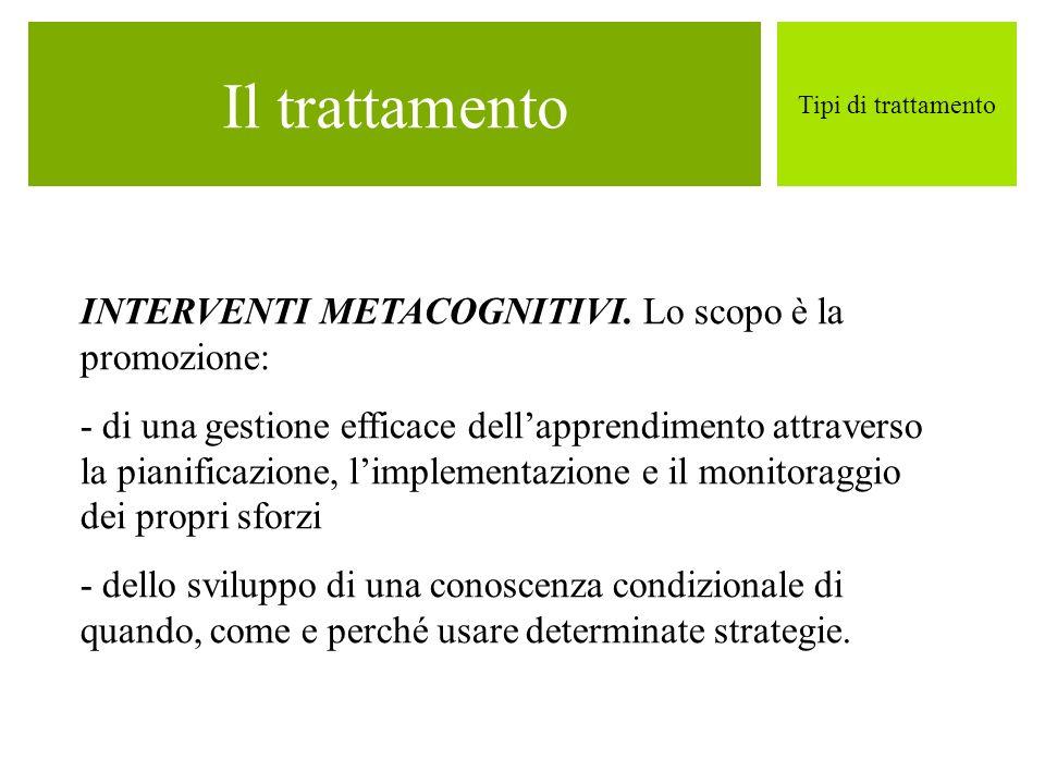 Il trattamento Tipi di trattamento INTERVENTI METACOGNITIVI. Lo scopo è la promozione: - di una gestione efficace dellapprendimento attraverso la pian