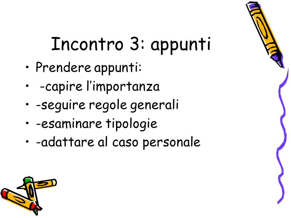 Incontro 3: appunti Prendere appunti: -capire limportanza -seguire regole generali -esaminare tipologie -adattare al caso personale