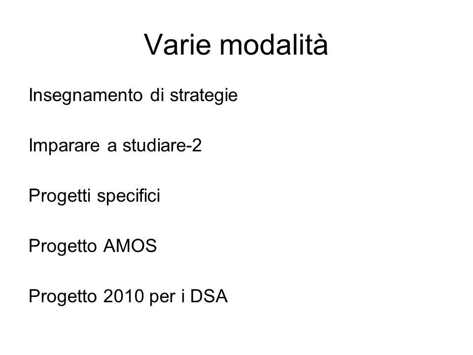 Varie modalità Insegnamento di strategie Imparare a studiare-2 Progetti specifici Progetto AMOS Progetto 2010 per i DSA