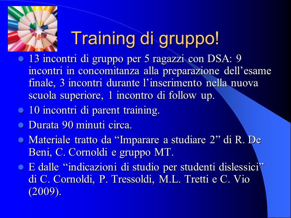 Training di gruppo! 13 incontri di gruppo per 5 ragazzi con DSA: 9 incontri in concomitanza alla preparazione dellesame finale, 3 incontri durante lin
