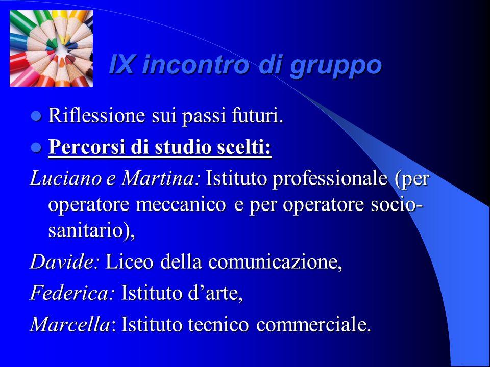 IX incontro di gruppo Riflessione sui passi futuri. Riflessione sui passi futuri. Percorsi di studio scelti: Percorsi di studio scelti: Luciano e Mart