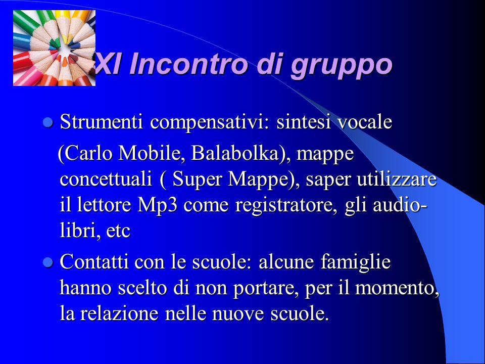 XI Incontro di gruppo Strumenti compensativi: sintesi vocale Strumenti compensativi: sintesi vocale (Carlo Mobile, Balabolka), mappe concettuali ( Sup