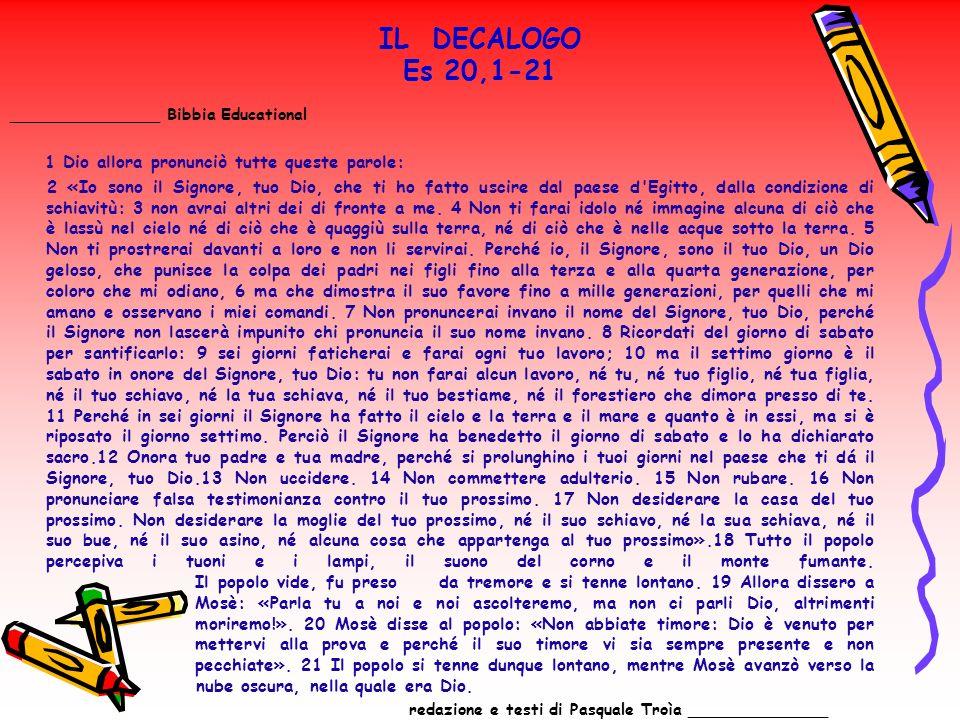 IL DECALOGO Es 20,1-21 _______________ Bibbia Educational 1 Dio allora pronunciò tutte queste parole: 2 «Io sono il Signore, tuo Dio, che ti ho fatto