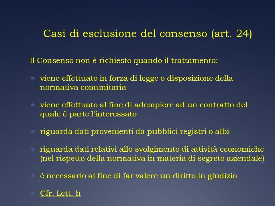 Casi di esclusione del consenso (art. 24) Il Consenso non è richiesto quando il trattamento: viene effettuato in forza di legge o disposizione della n