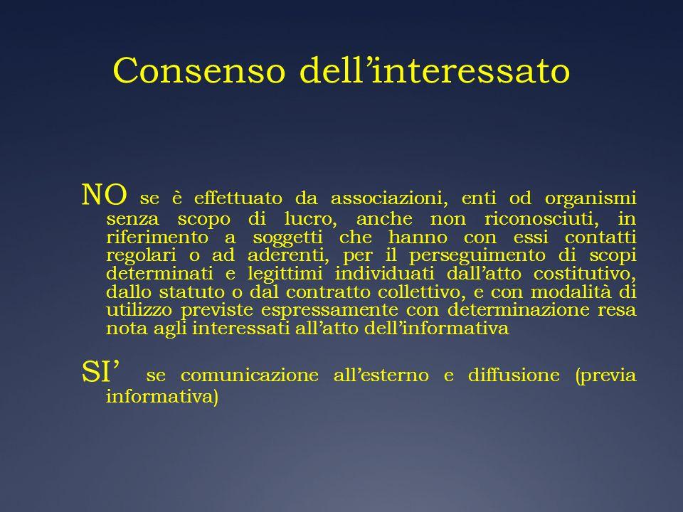 Consenso dellinteressato NO se è effettuato da associazioni, enti od organismi senza scopo di lucro, anche non riconosciuti, in riferimento a soggetti