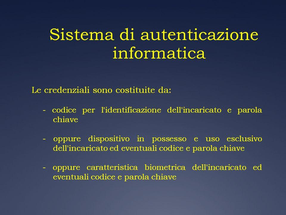 Sistema di autenticazione informatica Le credenziali sono costituite da: - codice per l'identificazione dell'incaricato e parola chiave - oppure dispo