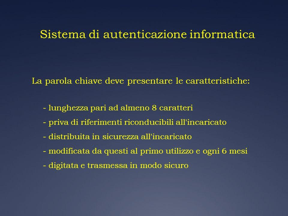 Sistema di autenticazione informatica La parola chiave deve presentare le caratteristiche: - lunghezza pari ad almeno 8 caratteri - priva di riferimen