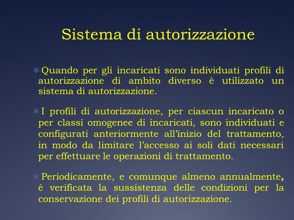 Sistema di autorizzazione Quando per gli incaricati sono individuati profili di autorizzazione di ambito diverso è utilizzato un sistema di autorizzaz
