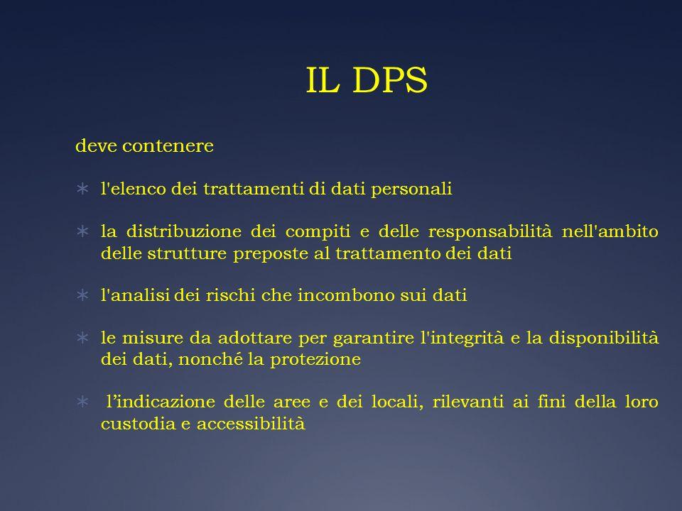 IL DPS deve contenere l'elenco dei trattamenti di dati personali la distribuzione dei compiti e delle responsabilità nell'ambito delle strutture prepo
