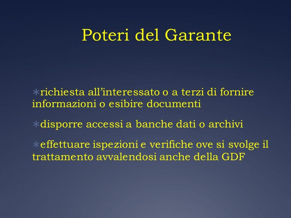Poteri del Garante richiesta allinteressato o a terzi di fornire informazioni o esibire documenti disporre accessi a banche dati o archivi effettuare