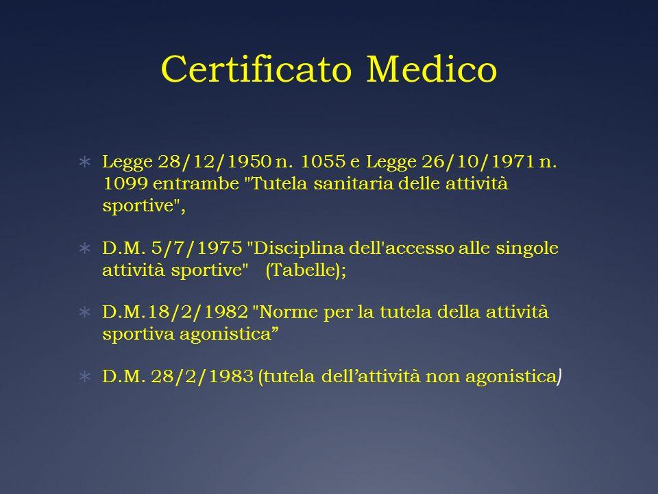 Certificato Medico Legge 28/12/1950 n. 1055 e Legge 26/10/1971 n. 1099 entrambe