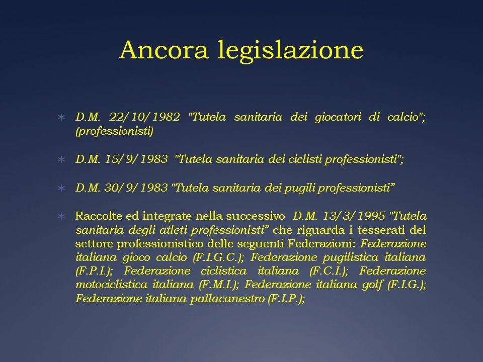 Ancora legislazione D.M. 22/10/1982