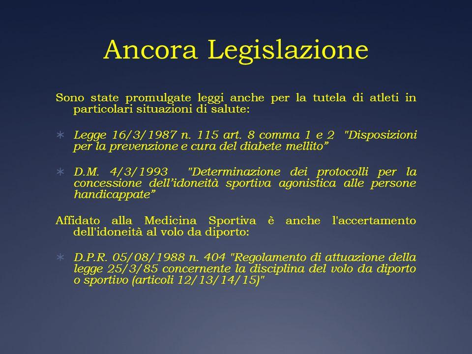 Ancora Legislazione Sono state promulgate leggi anche per la tutela di atleti in particolari situazioni di salute: Legge 16/3/1987 n. 115 art. 8 comma