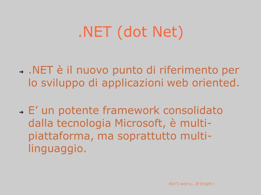 .NET (dot Net).NET è il nuovo punto di riferimento per lo sviluppo di applicazioni web oriented.