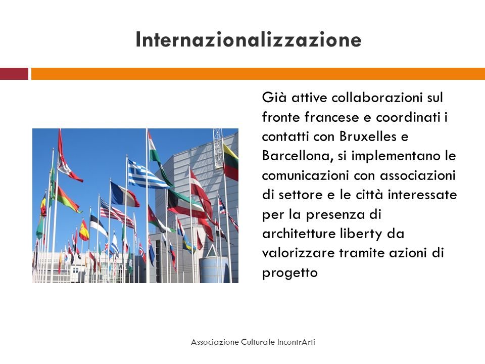 Internazionalizzazione Già attive collaborazioni sul fronte francese e coordinati i contatti con Bruxelles e Barcellona, si implementano le comunicazi