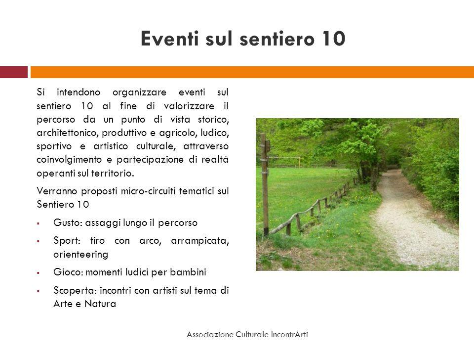 Eventi sul sentiero 10 Si intendono organizzare eventi sul sentiero 10 al fine di valorizzare il percorso da un punto di vista storico, architettonico