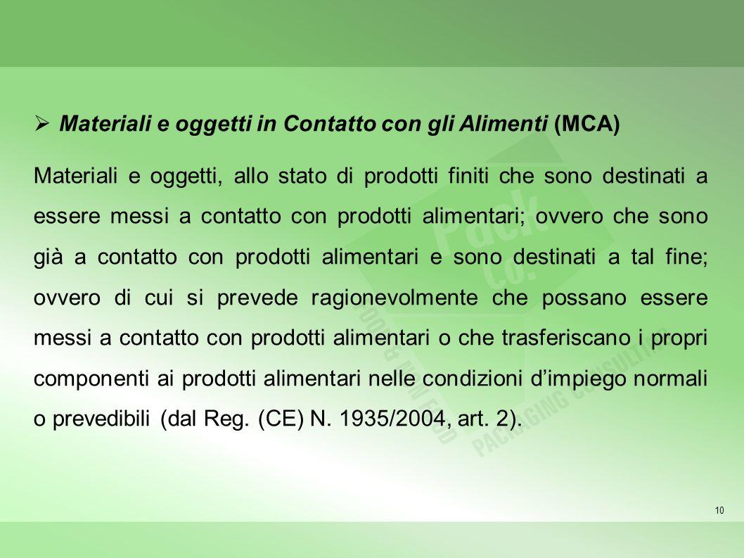 10 Materiali e oggetti in Contatto con gli Alimenti (MCA) Materiali e oggetti, allo stato di prodotti finiti che sono destinati a essere messi a conta