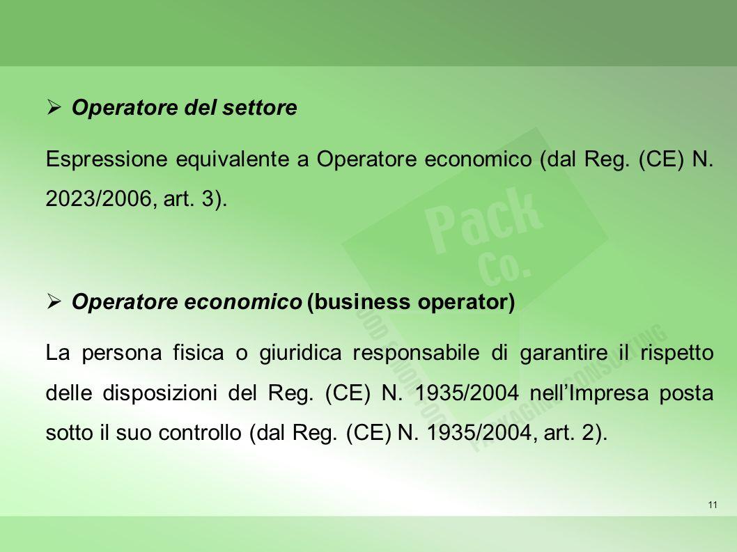 11 Operatore del settore Espressione equivalente a Operatore economico (dal Reg. (CE) N. 2023/2006, art. 3). Operatore economico (business operator) L