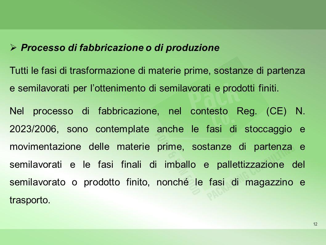 12 Processo di fabbricazione o di produzione Tutti le fasi di trasformazione di materie prime, sostanze di partenza e semilavorati per lottenimento di