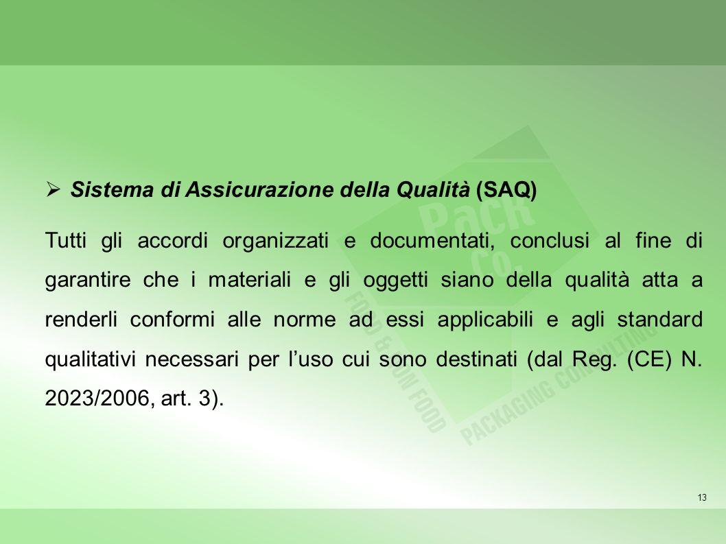 13 Sistema di Assicurazione della Qualità (SAQ) Tutti gli accordi organizzati e documentati, conclusi al fine di garantire che i materiali e gli ogget
