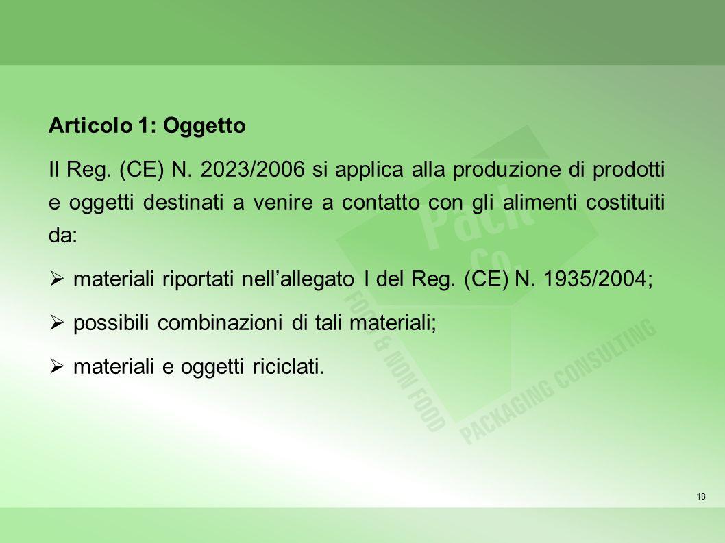 18 Articolo 1: Oggetto Il Reg. (CE) N. 2023/2006 si applica alla produzione di prodotti e oggetti destinati a venire a contatto con gli alimenti costi