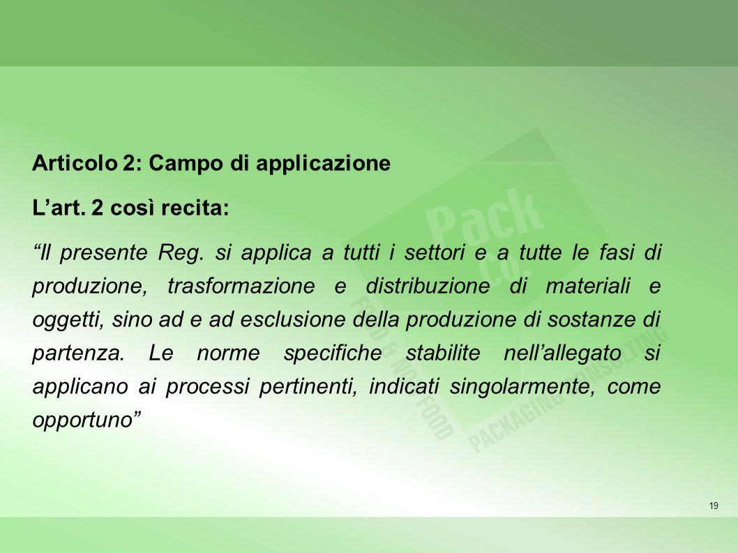 19 Articolo 2: Campo di applicazione Lart. 2 così recita: Il presente Reg. si applica a tutti i settori e a tutte le fasi di produzione, trasformazion