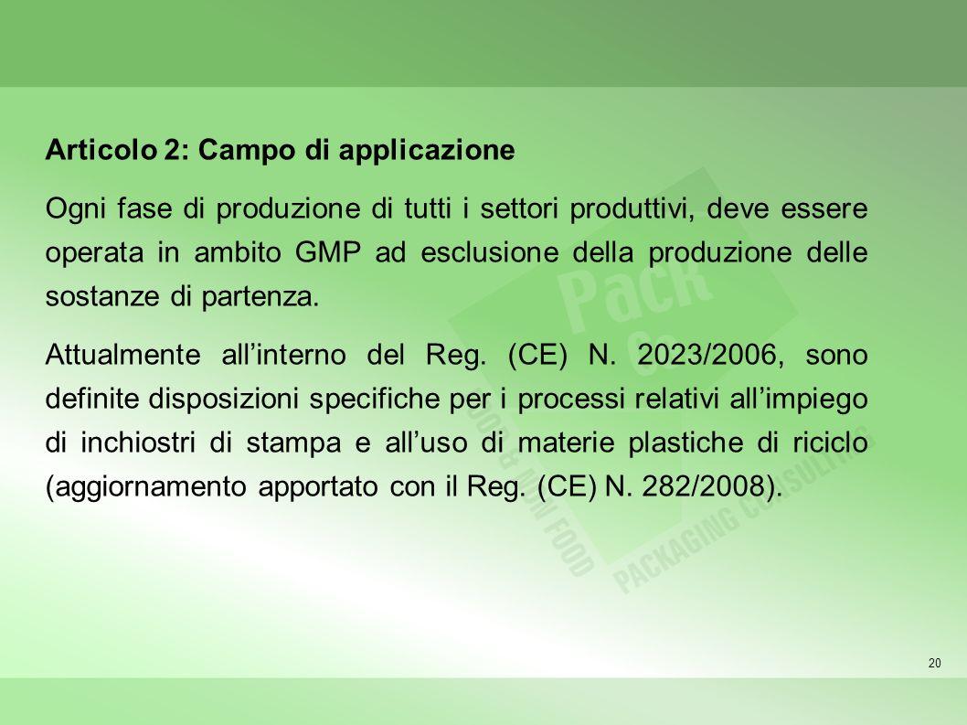 20 Articolo 2: Campo di applicazione Ogni fase di produzione di tutti i settori produttivi, deve essere operata in ambito GMP ad esclusione della prod