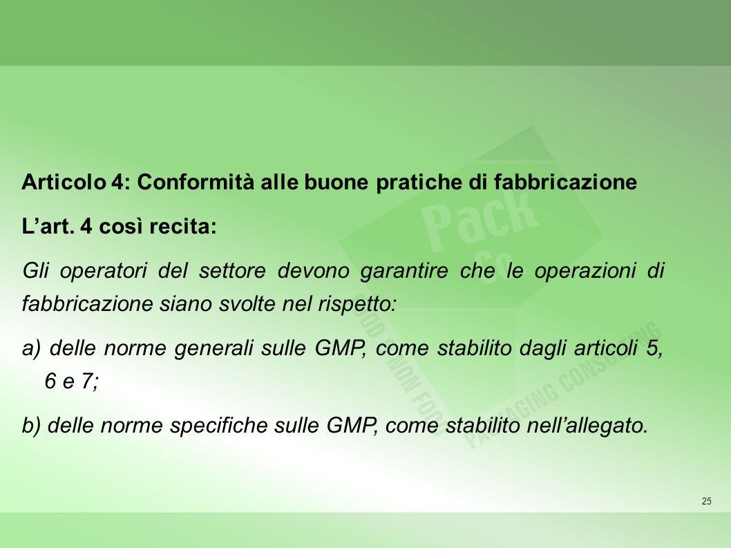 25 Articolo 4: Conformità alle buone pratiche di fabbricazione Lart. 4 così recita: Gli operatori del settore devono garantire che le operazioni di fa