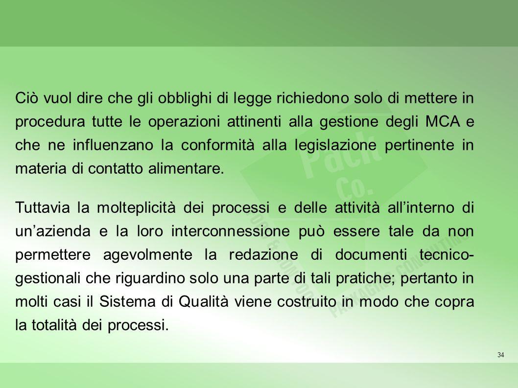 34 Ciò vuol dire che gli obblighi di legge richiedono solo di mettere in procedura tutte le operazioni attinenti alla gestione degli MCA e che ne infl