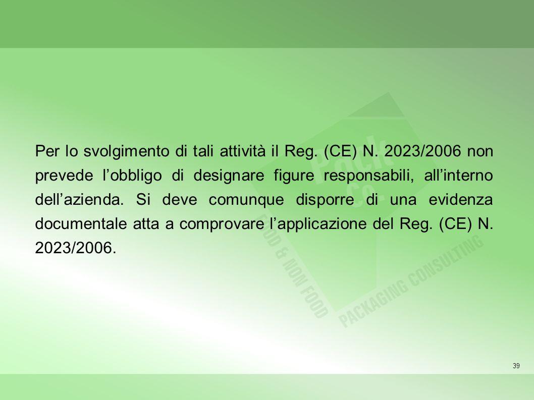 39 Per lo svolgimento di tali attività il Reg. (CE) N. 2023/2006 non prevede lobbligo di designare figure responsabili, allinterno dellazienda. Si dev