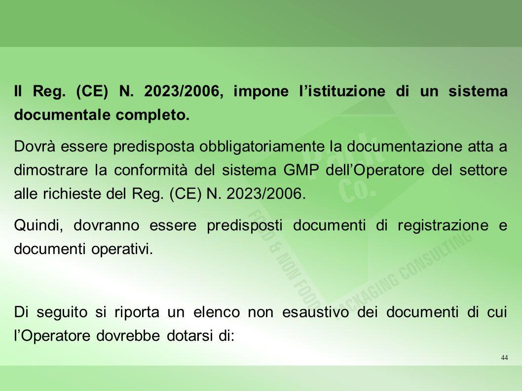 44 Il Reg. (CE) N. 2023/2006, impone listituzione di un sistema documentale completo. Dovrà essere predisposta obbligatoriamente la documentazione att