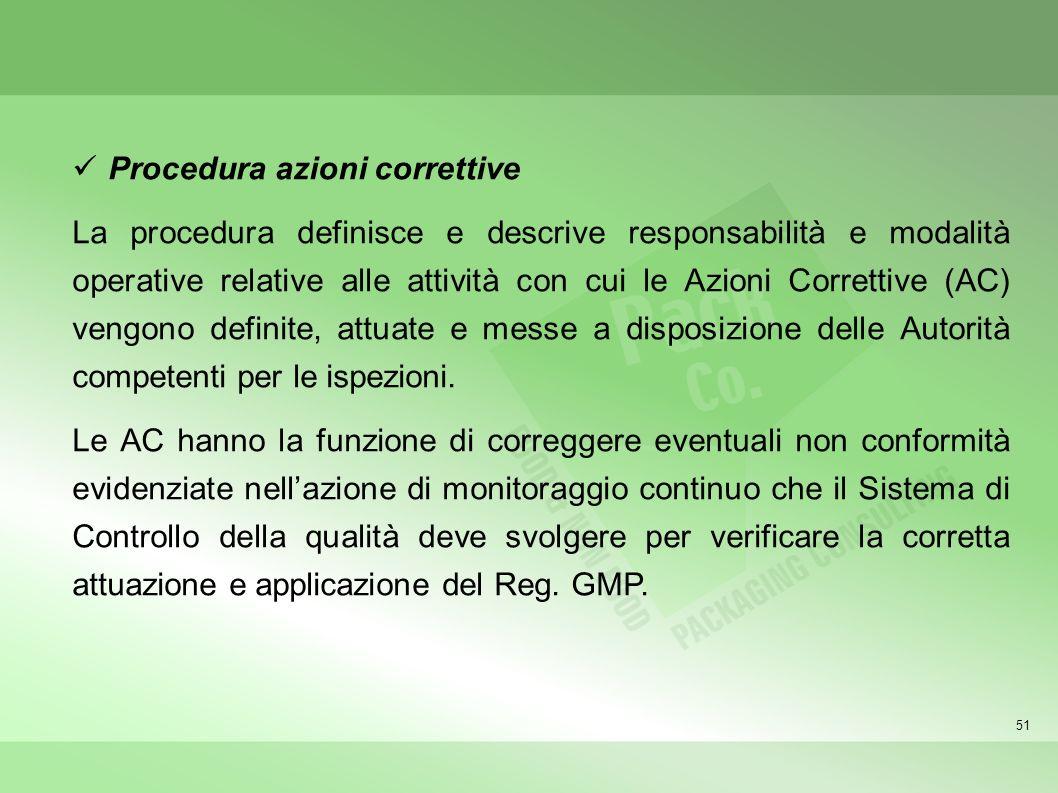 51 Procedura azioni correttive La procedura definisce e descrive responsabilità e modalità operative relative alle attività con cui le Azioni Corretti