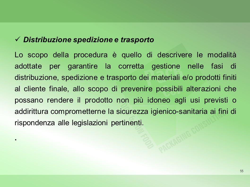 55 Distribuzione spedizione e trasporto Lo scopo della procedura è quello di descrivere le modalità adottate per garantire la corretta gestione nelle